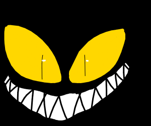 Scary yellow eyes in the darkness beckon you