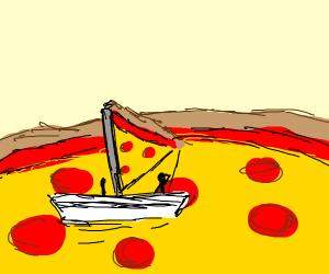 pizza boat in pizza ocean