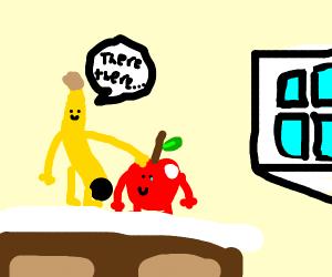 Banana comforts his apple friend
