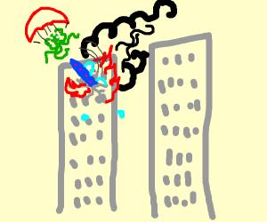 Ufos crash into twin towers