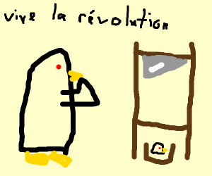 Penguin is shocked at French guillotine