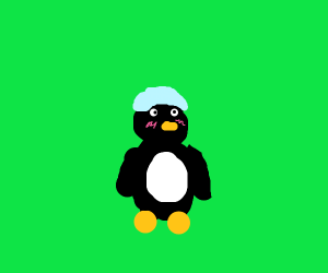 Blushing penguin with shower cap
