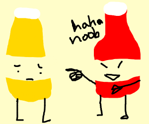 Ketchup making fun of mustard