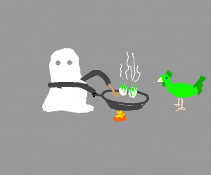 Ghost cooking ectoplasm eggs