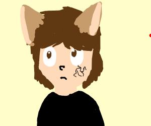 Wolf boy with eye tattoos