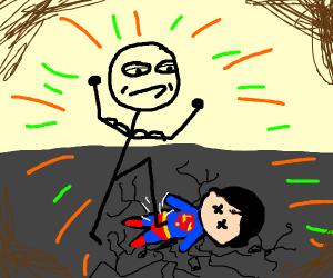 Man stomps on superman
