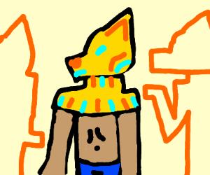 A shirtless pharaoh wearing jeans