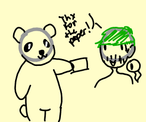 Panda giving jacksepticeye paper