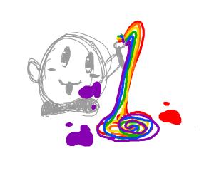 Kirby draws a rainbow