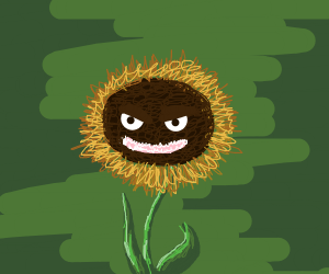 angry sunflower with sharp teeth