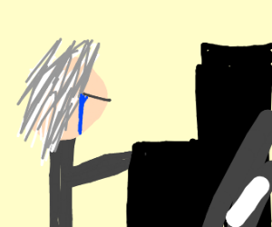 beethoven is crying while playing piano