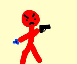 Red stick man with handgun and fidget spinner