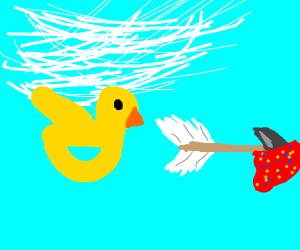 bird flies after an arrow with banana