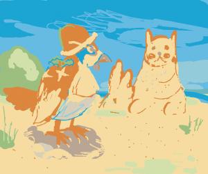 Christmas bird pokemon with sand castle pokem