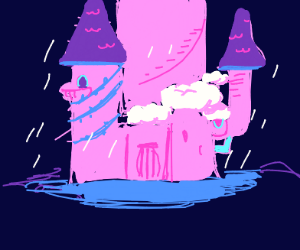 Pink Castle with Rain