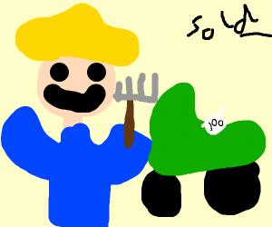 happy farmer got new tractor