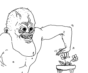 big chin man stroking flower plant