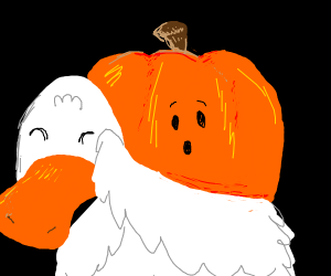 the duck took off his mask revealing pumpkin