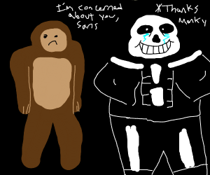 monkey is concered for sans