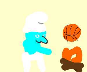 Smurf cooking a Basketball
