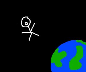 man floating through space