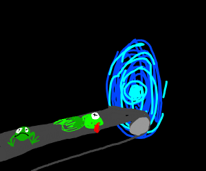 Frog on conveyor goes into portal