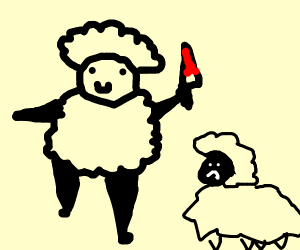 man dressed up as a sheep with a bloody knif