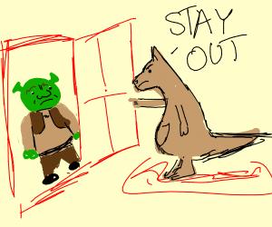Kangaroo refuses to let shrek in