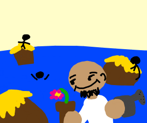 Man drowns small village, watering the flower