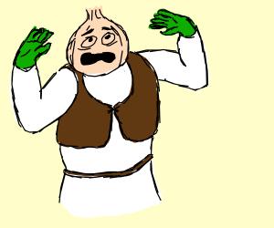 Shrek becomes an onion