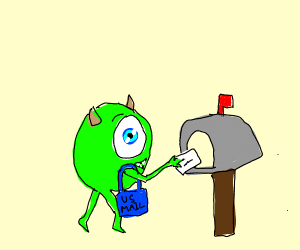 Mike Wazowski delivers the mail