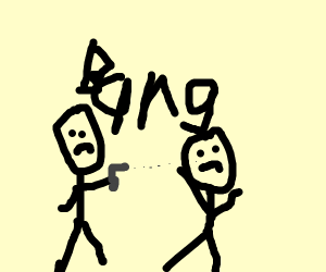 two people and one has a gun