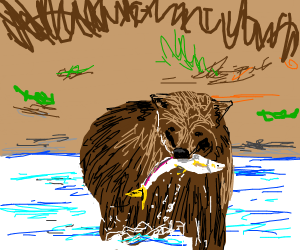 Bear with fish in mouth in river