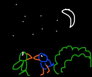 Two birds standing next to bush under da moon