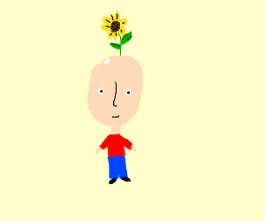 Bald man with flower in head