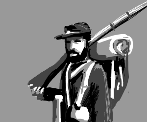 some old civil war man in black and white