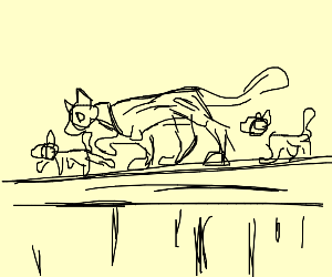 Momma cat and kittens walk over fencetop