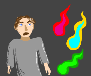 dude distressed by green, yellow and red fire