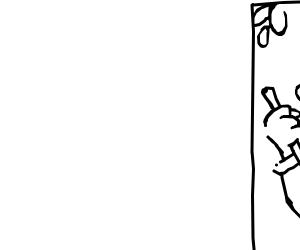 Jaitor hand holding broom in corner of panel