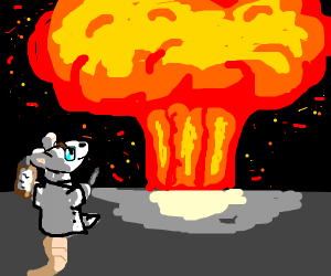 scientist mouse in front of explosion