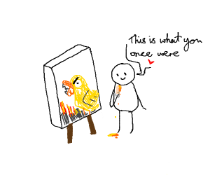 painting with a chicken drumstick