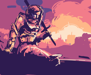 Epic women with sword w/sunset
