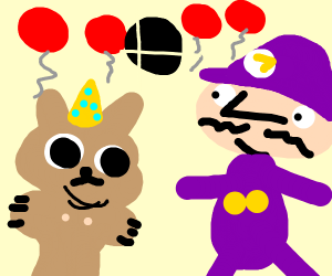 Waluigi celebrates his cat's birthday
