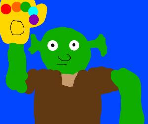 Shrek with the infinity gauntlet