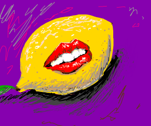 Seductive lips on a lemon