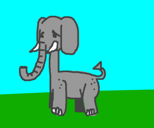 sad long necked elephant is sad