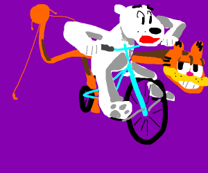 Bear frantically flees on bicycle