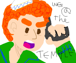 guy in green hoodie and ginger hair with gun