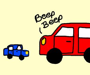 Big car beeps at smaller car