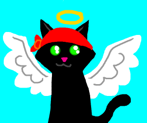 Angel cat with red bandana
